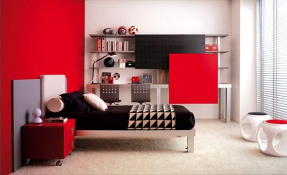 bedroom ideas minimalis red white