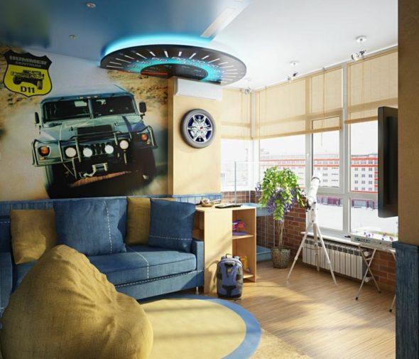 Blue yellow boys room