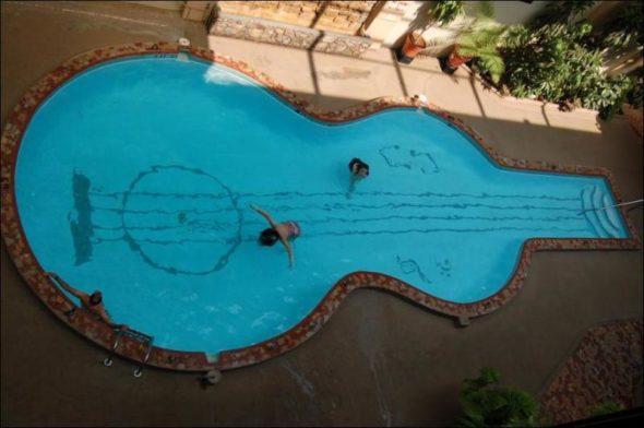 Guitar Swimming Pool - Outdoor Pool Ideas