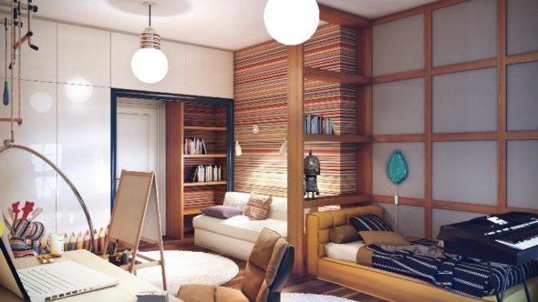 Kids bedroom striped wall giant bulb light