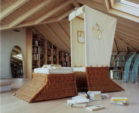 Cozy Looking Wicker Cabin & Ottoman