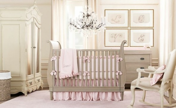 Cream Pink Girls Baby Room