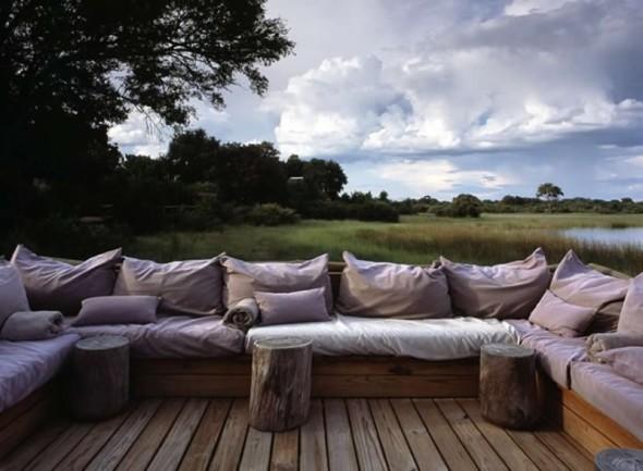 Seating at Vumbura Plains Camp by Silvio Rech and Lesley Carstens