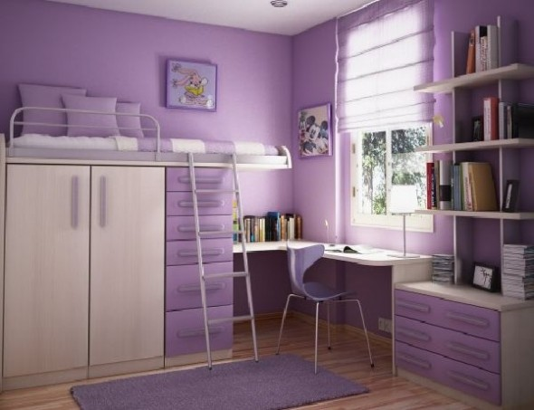 beautiful purple teenage room girl