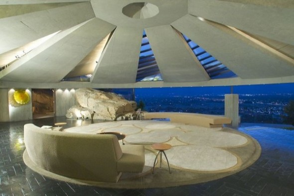 The Elrod House by John Lautner living room from The Bond's Movie
