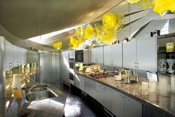 The Elrod House by John Lautner modern kitchen from The Bond's Movie