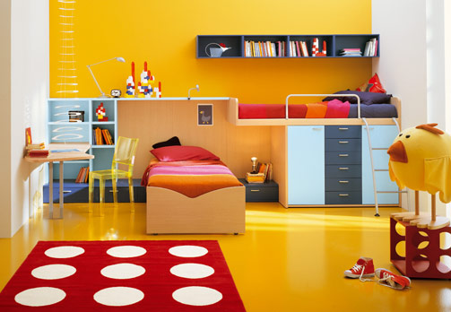Modern Kids Bedroom Decorating With Yellow Colors
