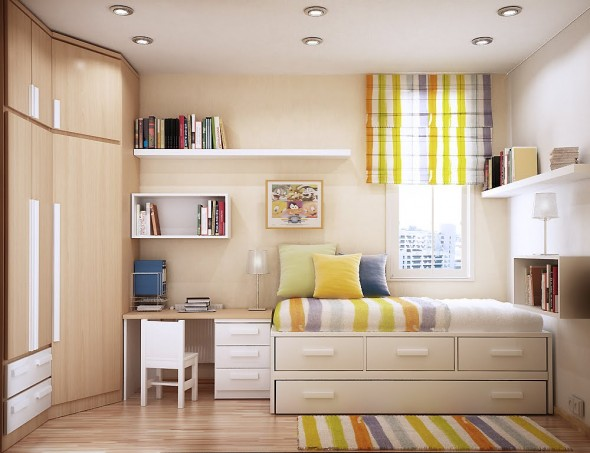 bright and cheerful Study Rooms Saving Ideas for Small Kids Rooms