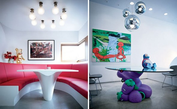 colorful red sofa and lighting furniture in interior design