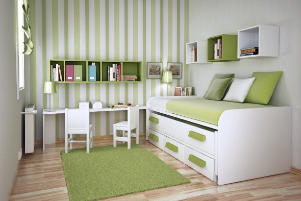 green Study Rooms Saving Ideas for Small Kids Rooms