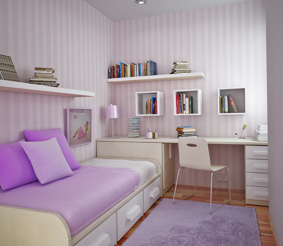 lilac Study Rooms Saving Ideas for Small Kids Rooms