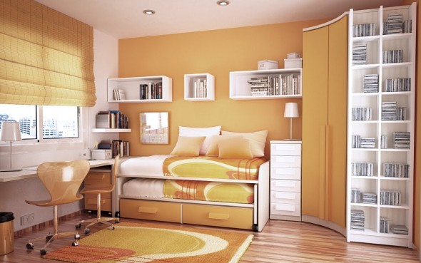 orange and white Study Rooms Saving Ideas for Small Kids Rooms