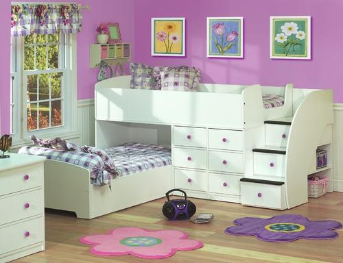 Berg Furniture Sierra Captains Bed for Two with Stairs-Bedroom Decorating Ideas for Creative Kids Rooms