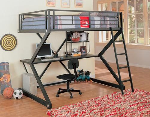 Full Workstation Bunk in Black-Bedroom Decorating Ideas for Creative Kids Rooms