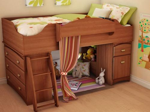 Storage+Loft+Bed+with+Ladder+in+Cherry-Bedroom Decorating Ideas for Creative Kids Rooms