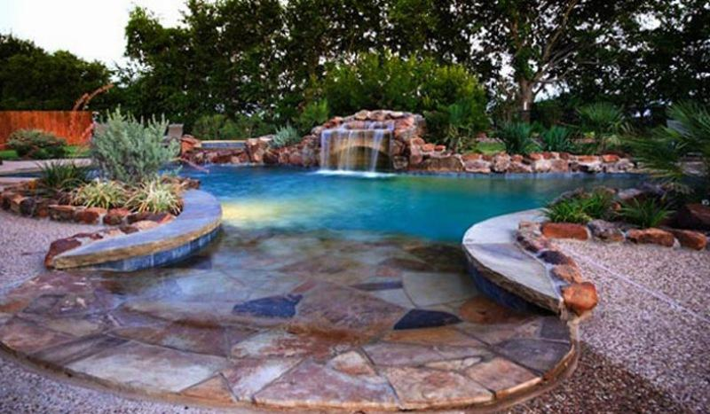 Custom swimming pools and spa outdoor pool ideas for Beautiful house with swimming pool