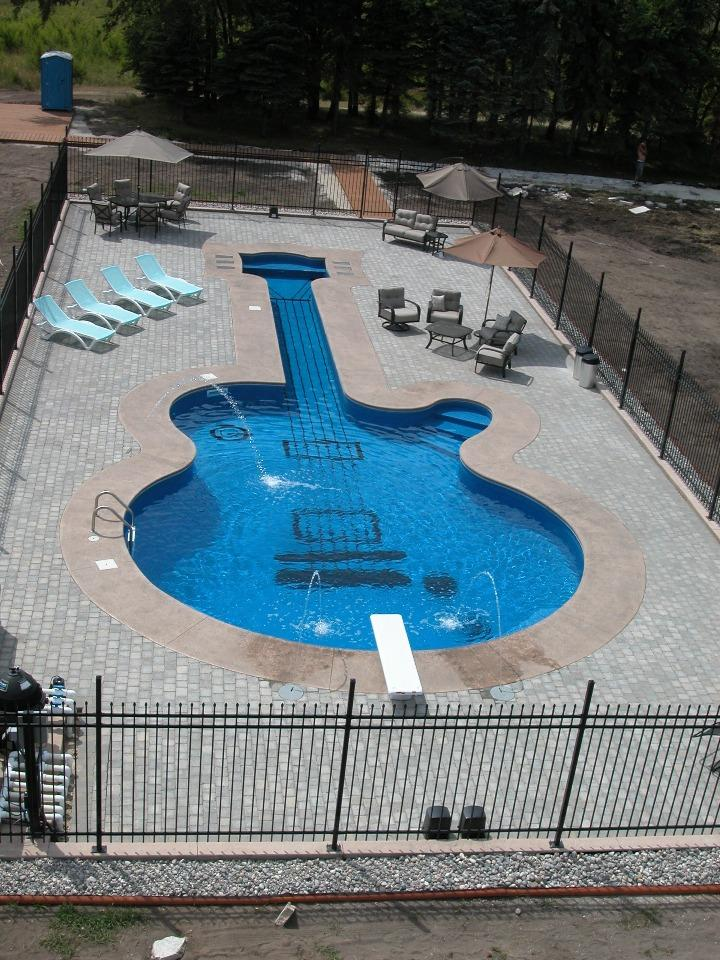 unique guitar swimming pool outdoor pool ideas image