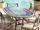 Oval Looking Table with an Elegant Mosaic Top