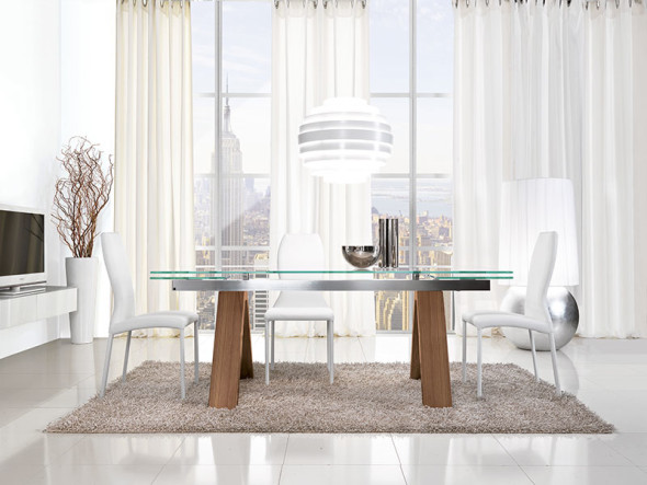 Black Glass Extending Dining Table